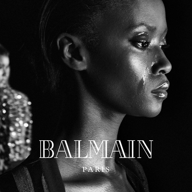 Supermodels + Kanye West & Kim Kardashian as FW16 ‪#‎Balmainarmy
