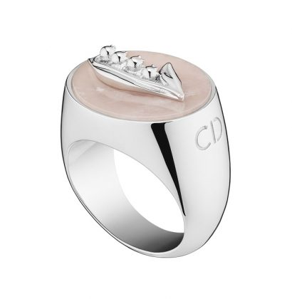 Lucky Dior 'Lily Of The Valley' pattern ring in metal with rhodium finish and pink quartz