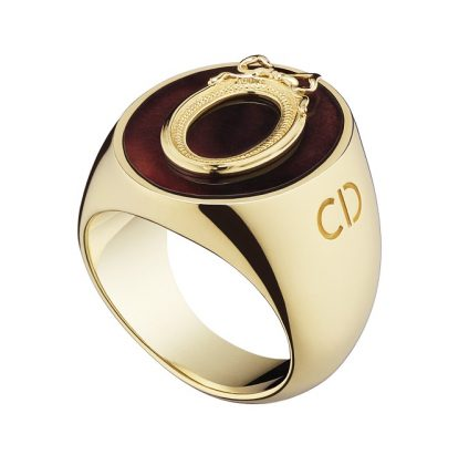 Lucky Dior 'Oval' pattern ring in metal with gold finish and fluorite