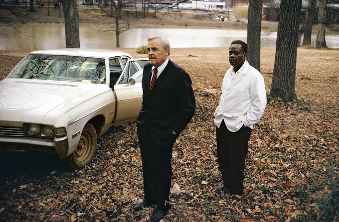 Untitled, 1969 – 70 (the artist's uncle, Ayden Schuyler Senior, with Jasper Staples, in Cassidy Bayou, Summer, Mississippi) by William Eggleston ©Eggleston Artistic Trust