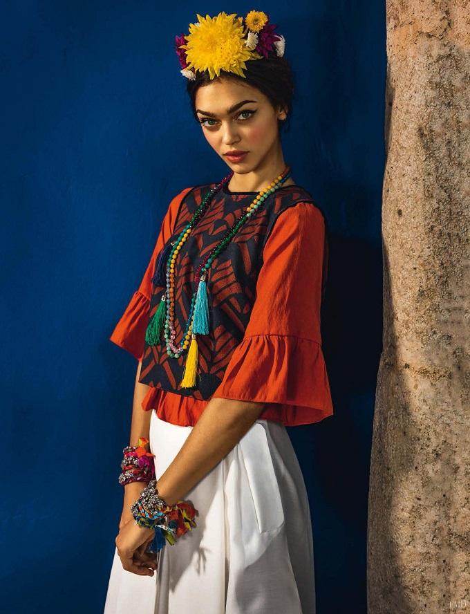 Zhenya Katava Embraces Traditional Folk Style for Glamour Italy shot by Matteo Bertolio