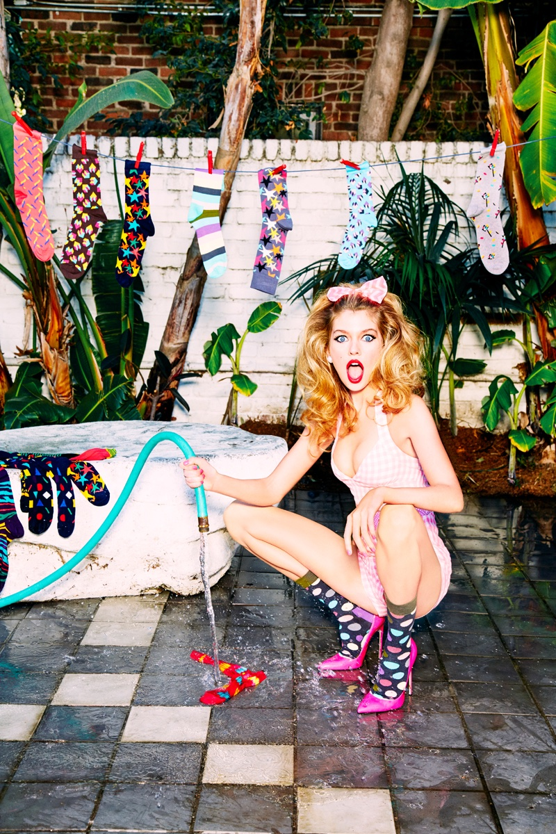 Stella Maxwell Goes Pin-up in Happy Socks' Fall Campaign by Ellen von Unwerth