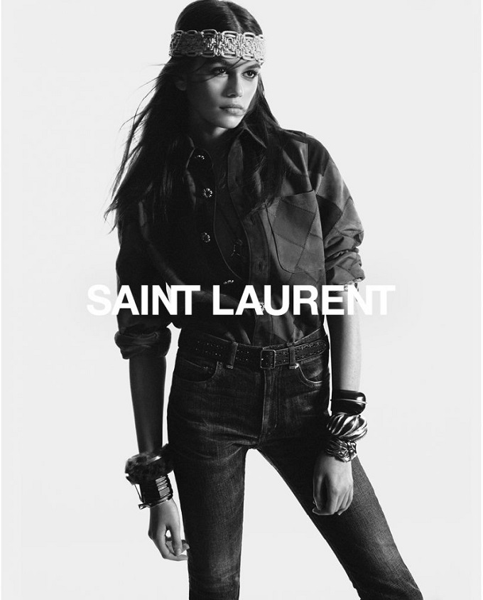 Saint Laurent Fall 2018Campaign with Kaia Gerber