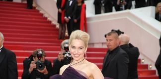 Emilia Clarke is dressed in Dior