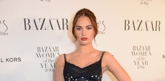 Lily James wearing Burberry SS19 to the Harpers Bazaar WOTYA in London