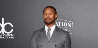 Michael B Jordan wearing Burberry to the Hollywood Film Awards