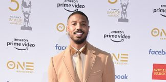 Michael B. Jordan wearing Burberry to the 50th annual NAACP Image Awards in Los Angeles