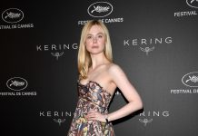 Cannes: Elle Fanning Wears a Painting on Her Dress at Kering Women In Motion Awards 2019
