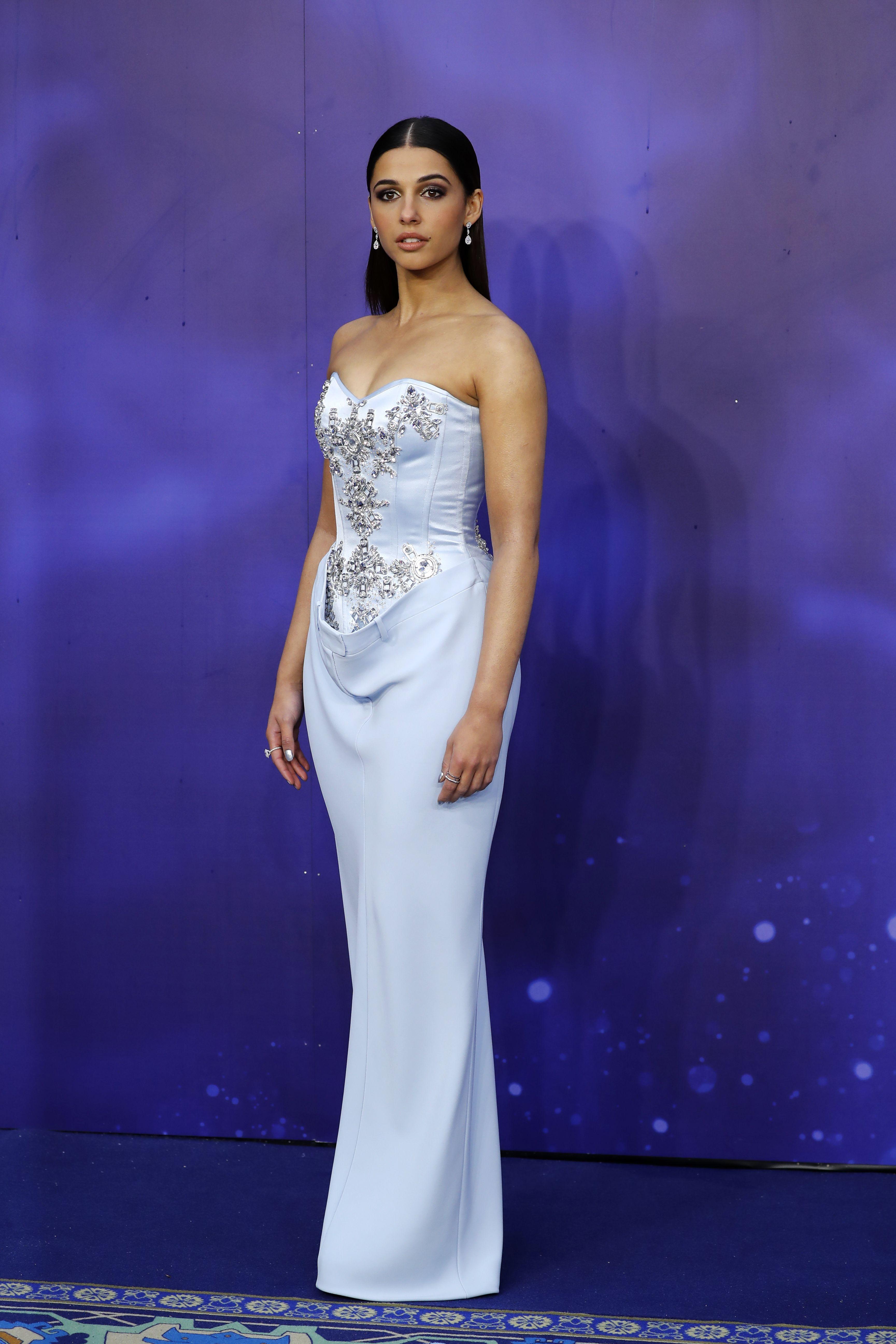 Naomi Scott wearing Burberry to Aladdin premier, London 9.5.19