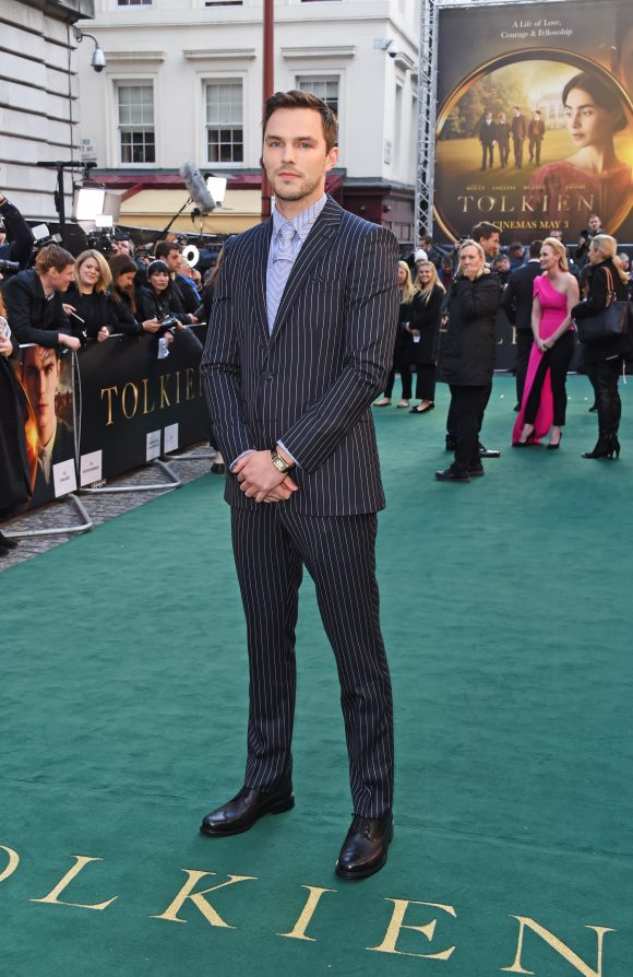 Nicholas Hoult wearing Burberry to the premiere of Tolkien in London