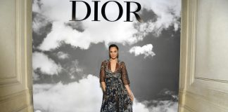 Gal Gadot in Dior at the Paris Fashion Week
