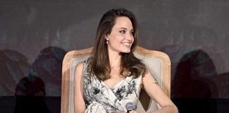 Angelina Jolie was elegantly draped in a Dior AW19 dress by Maria Grazia Chiuri