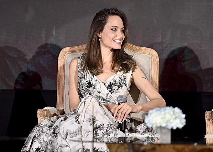 Angelina Jolie was elegantly draped in a Dior AW19 dress by Maria Grazia Chiuri