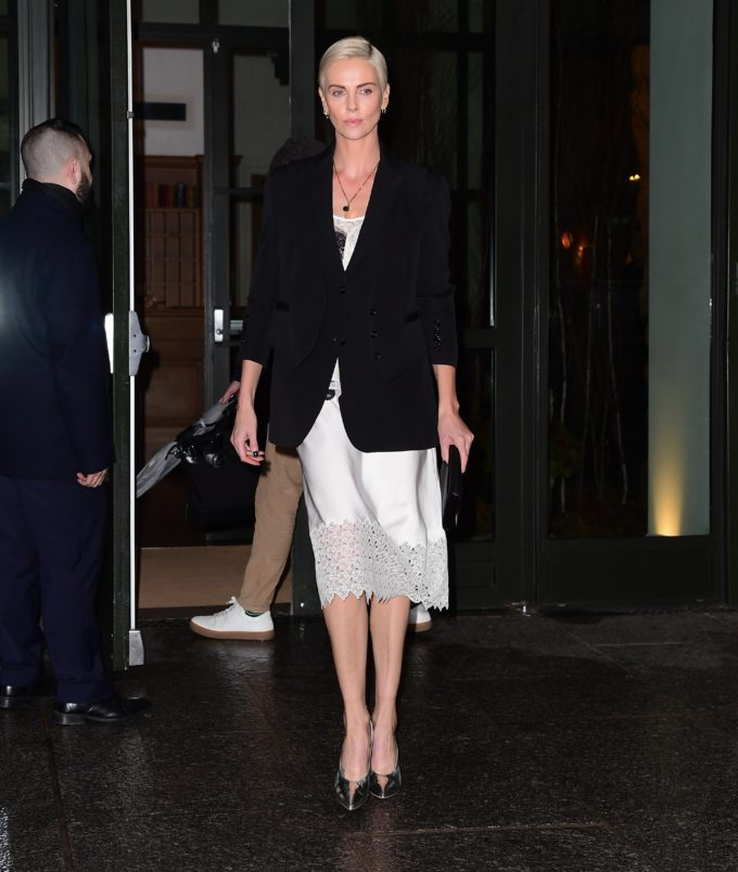Charlize Theron Steps Out In White Lace Dress For The Late Show In NYC