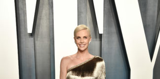 Charlize Theron and Greta Gerwig in Dior Haute Couture and Dior by Maria Grazia Chiuri to the Vanity Fair Oscar Party