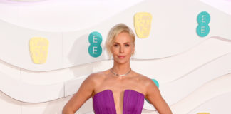 Charlize Theron in purple Dior at the EE BAFTAs