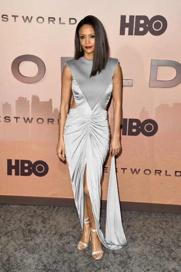 Thandie Newton wearing Burberry