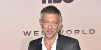 Actor Vincent Cassel attended the Westworld Season 3 premiere in Los Angeles wearing a Dior men's gray wool notch-lapel suit and classic white cotton shirt, all by Kim Jones.
