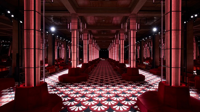 Miu Miu Fall-Winter 2020 Show Space Description Hued Colonnade