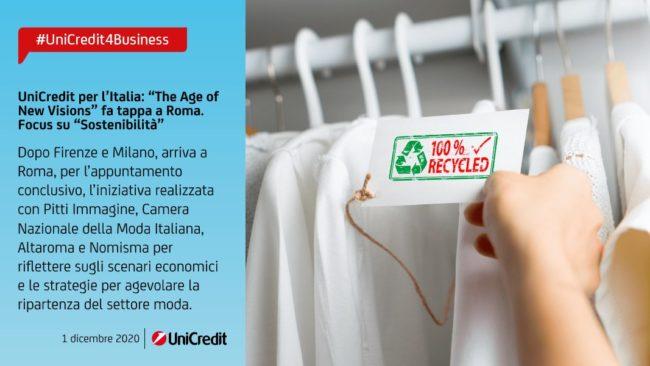 """UniCredit, """"The age of new vision"""" fa tappa a Roma. Focus su sostenibilità"""