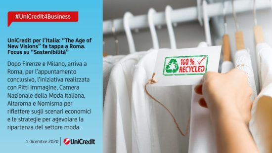 "UniCredit, ""The age of new vision"" fa tappa a Roma. Focus su sostenibilità"