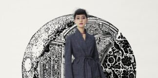 Actress Yuko Araki in the virtual front row at Dior Couture