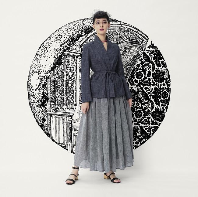 Actress Yuko Araki in the virtual front row at Dior Couture