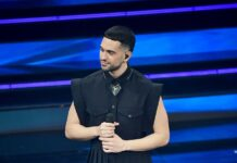 Mahmood wearing Burberry at The Sanremo Music Festival 2021