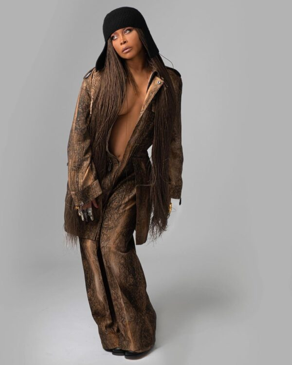 Erykah Badu wearing Burberry