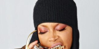 Erykah Badu wearing Burberry